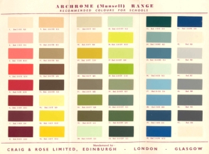 Colour chart showing recommended colours for use in schools