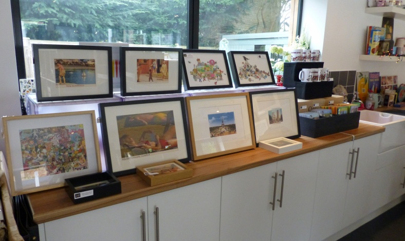 Digital prints, collages, mugs and cards - it's like the RA shop!