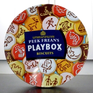Playbox biscuit tin